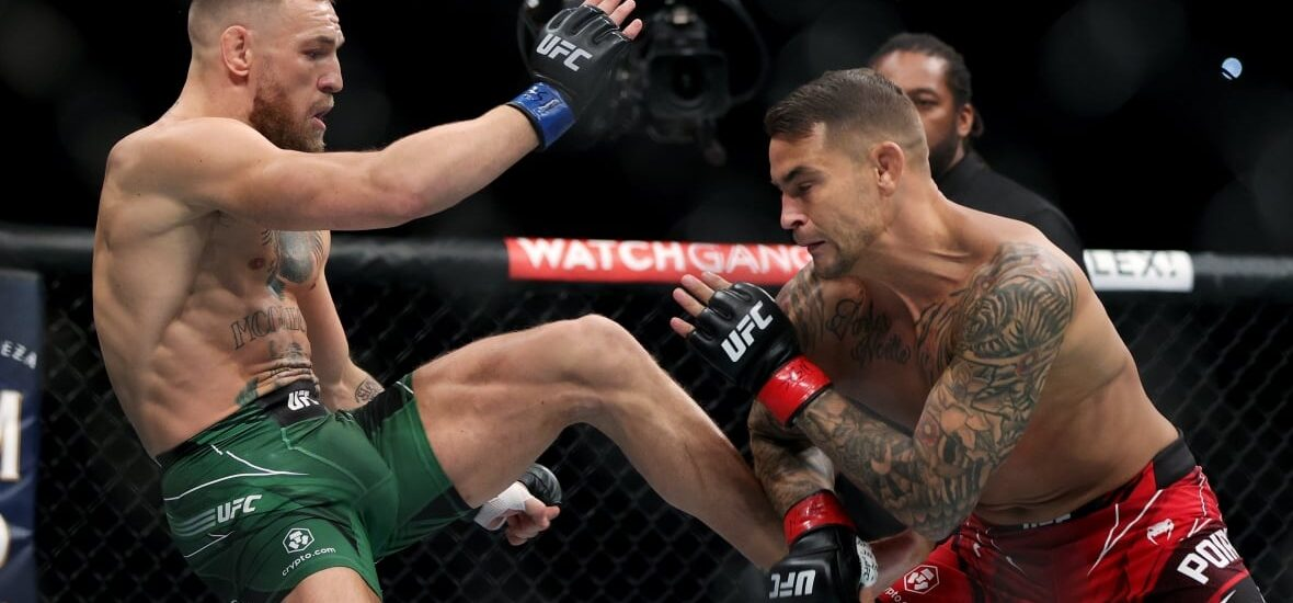 While Conor McGregor suffers from a leg injury, Dustin Poirier wins the fight via doctor stoppage